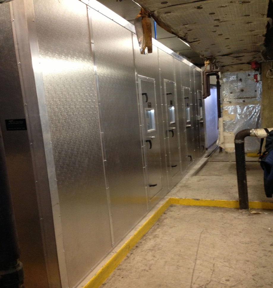 "Hotel: 35,000 CFM field-built make up air unit for hallway pressurization-designed to be rigged into the building through a 40"" x 40"" roof opening."